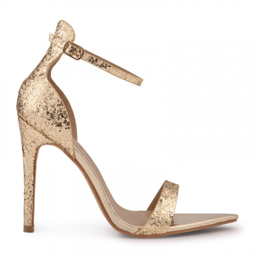 Gold Glitter Stiletto Ankle Tie Sandal -
