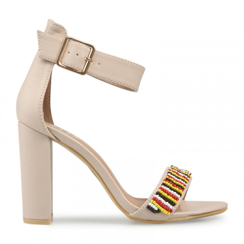 Nude Beaded Sandal -