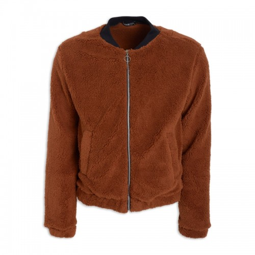 Brown Fleece Bomber Jacket -