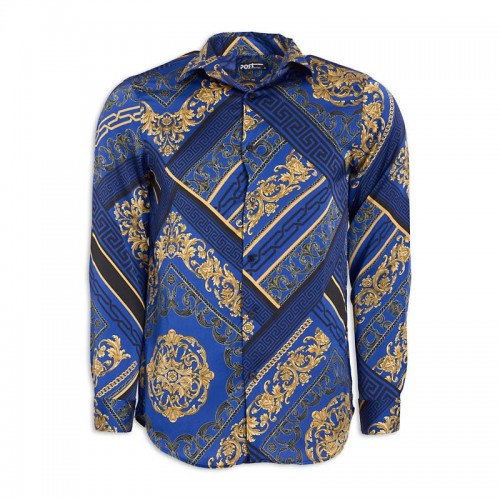 Blue Print Long Sleeve Shirt -