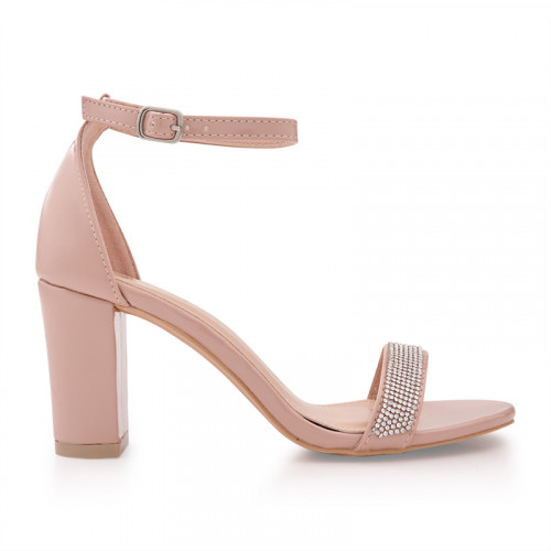 Nude Patent Low Heel Diamante Sandal -