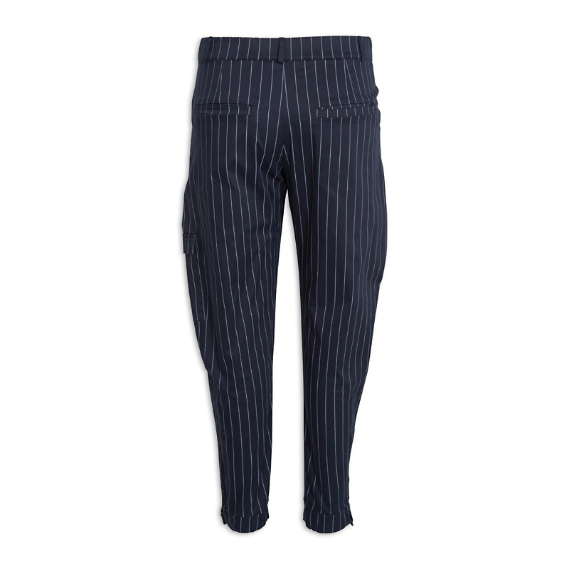 Navy Stripe Cuff Pants -