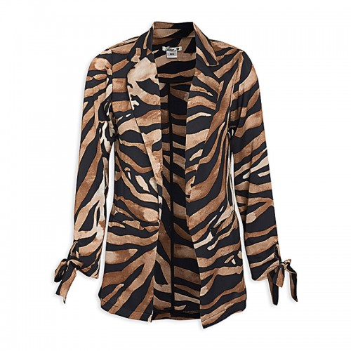 Animal Print Satin Blazer -