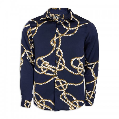Gold Chain Print Long Sleeve Shirt -
