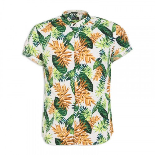 White Palm Mandarin Short Sleeve Shirt -