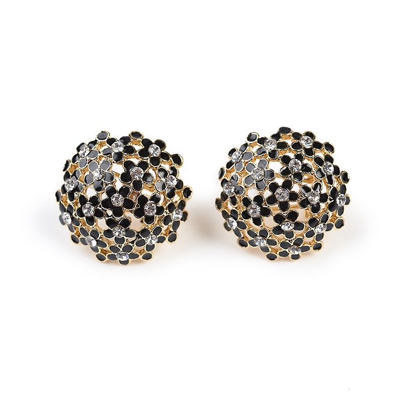 Black Button Earring -