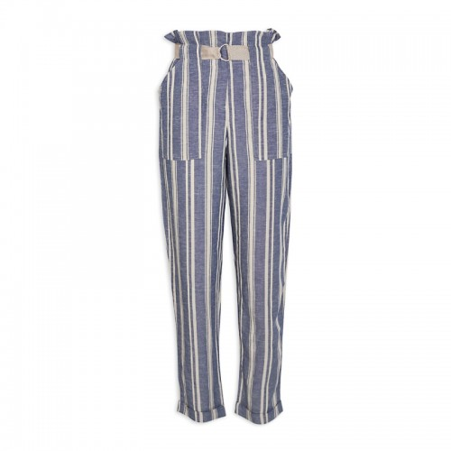 Navy Stripe Linen Pants -