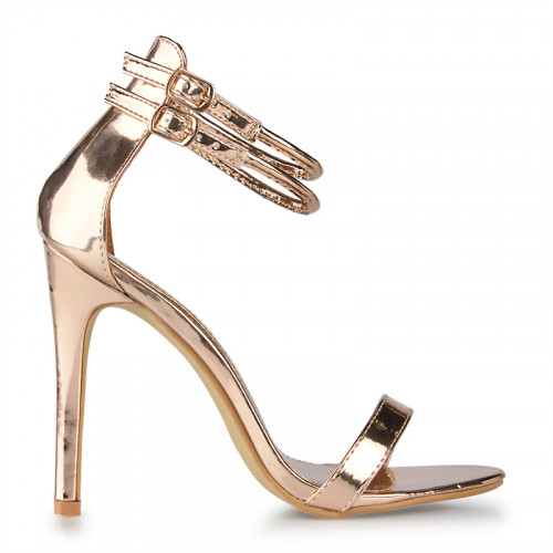 Rose Gold Chrome Two Buckle Ankle Tie Sandal -