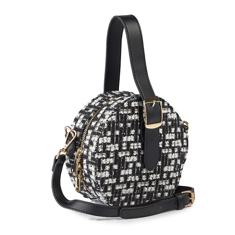 Houndstooth Round Bag -