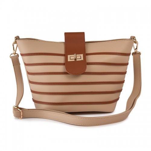 Cream Stripe Bag -