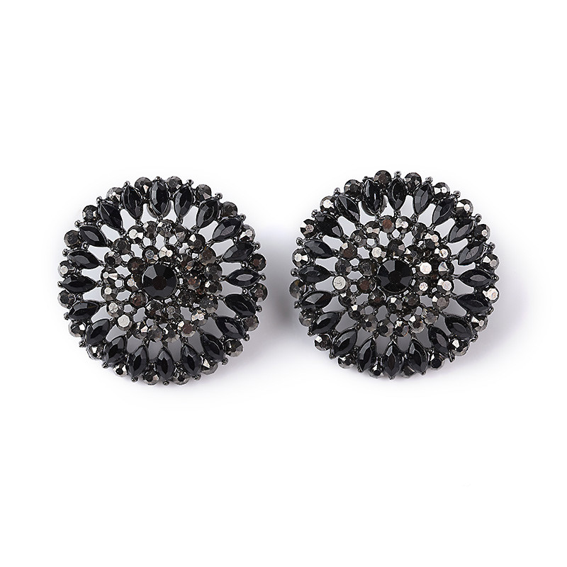 Black & Gunmetal Stone Bling Button Earrings -