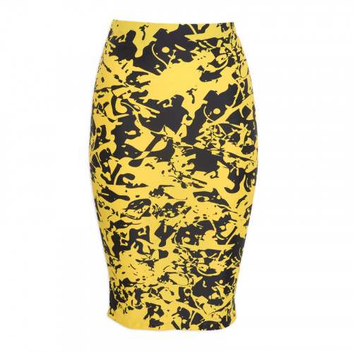 Yellow Graphic Pencil Skirt -