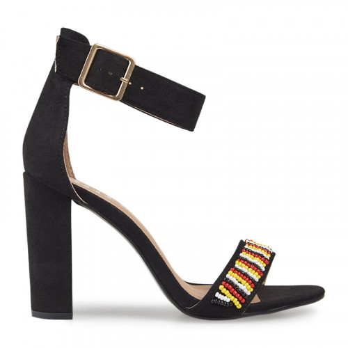 Black Suede Beaded Sandal -