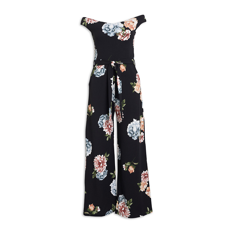 Black Floral Jumpsuit -