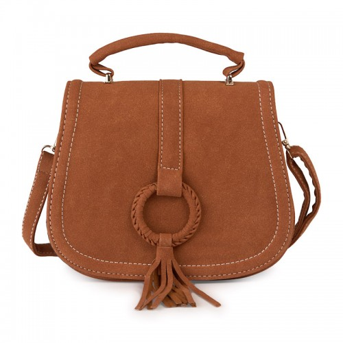 Suede Tassel Saddle Bag -