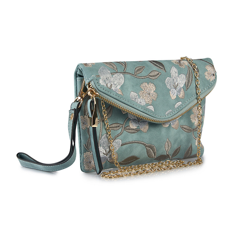 Blue Embroidered Clutch -