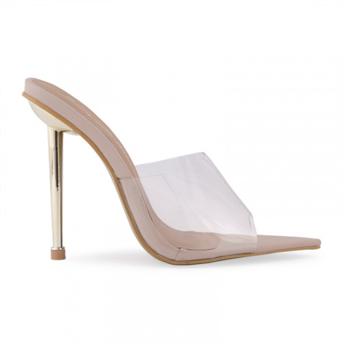 Nude Mule With Clear Vamp -