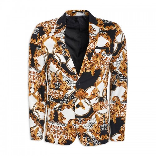 Black & Yellow Print Suit Jacket -