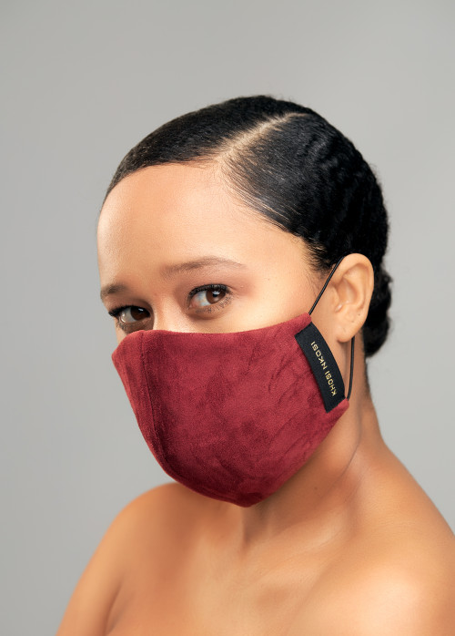 Maroon Suede Face Mask -