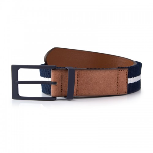 Navy Stripe Canvas Belt -