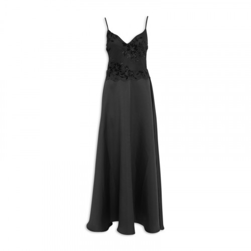 Black Satin Maxi Dress -