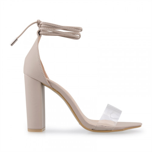 Nude PU Sandal With Tie Straps -