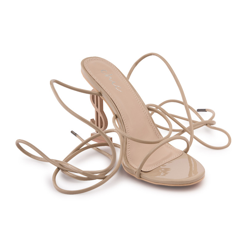 Nude Patent Strappy Sandal With Dollar Sign Heel -