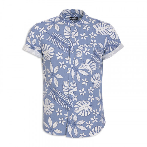 Blue Floral Short Sleeve Shirt -