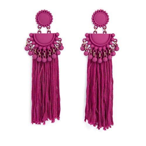 Magenta Tassel Earrings -