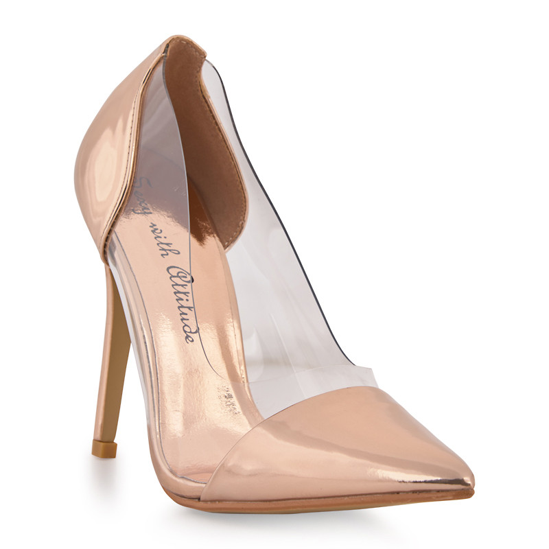 Rose Gold Chrome Court Shoe With Clear Sides -