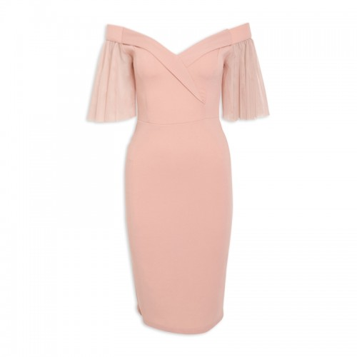 Nude Bardot Dress -