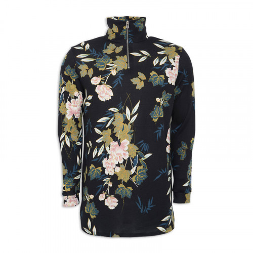 Floral Zip Polo Neck -