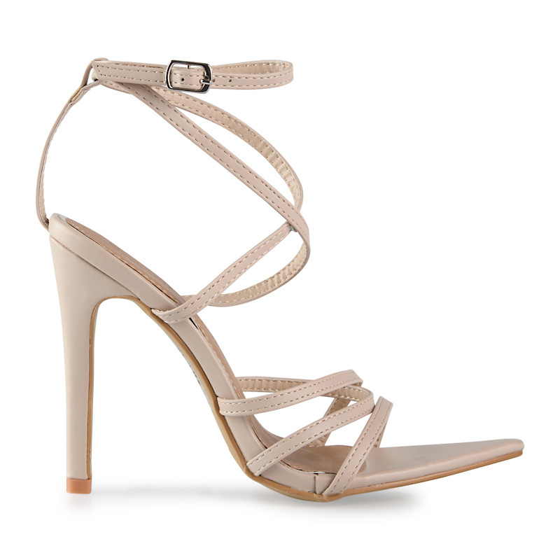 Nude PU Stiletto Strappy Sandal -