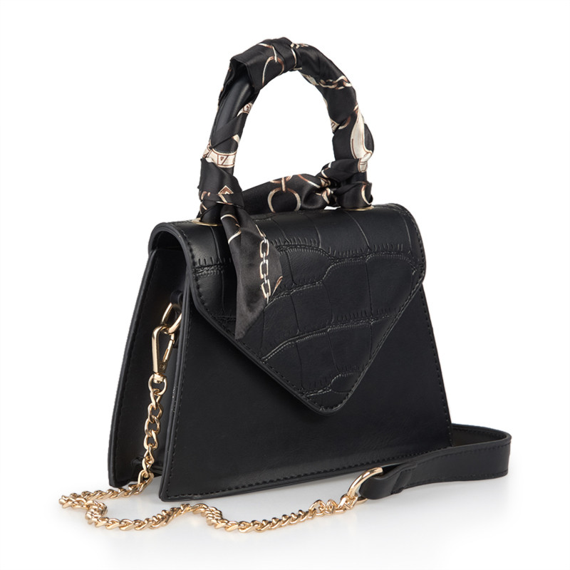 Croc Black Bag with Scarf -
