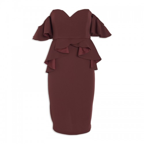 Wine Peplum Dress -