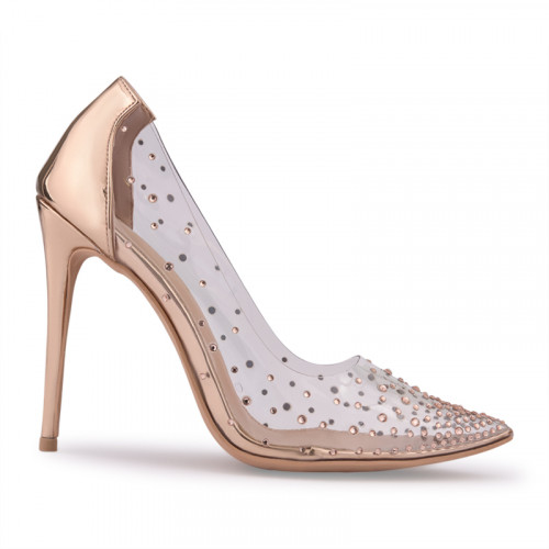 Rose Gold Shiny Court Shoe With Clear Sides -