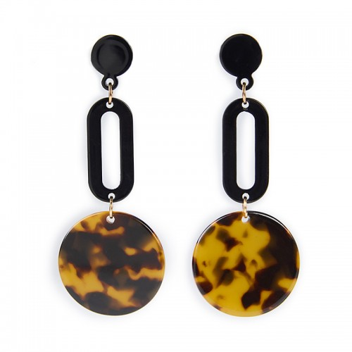 Animal Circle Drop Earrings -