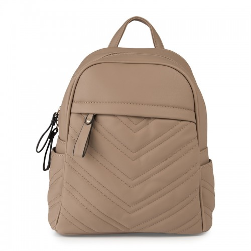 Beige Quilt Backpack -