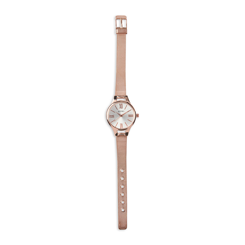 Rose Gold Mesh Strap Watch -