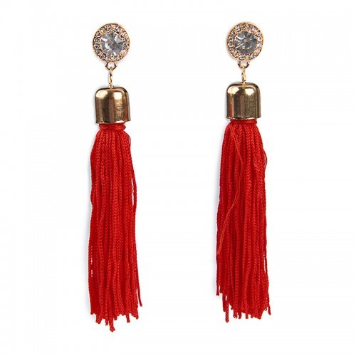 Red Tassel Earrings -
