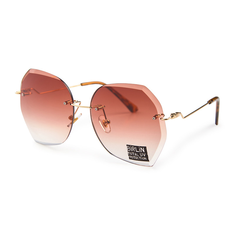 Brown Frameless Sunglasses -