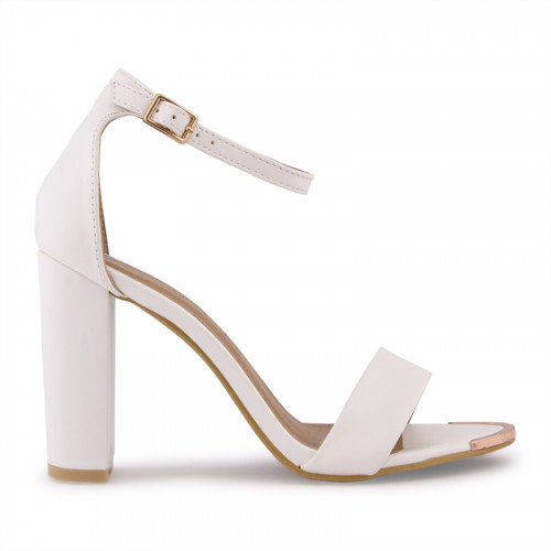 White PU With Gold Clip Sandal -