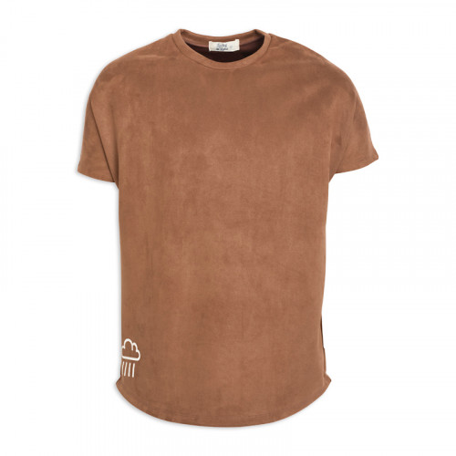 Brown Suede Printed T- Shirt -
