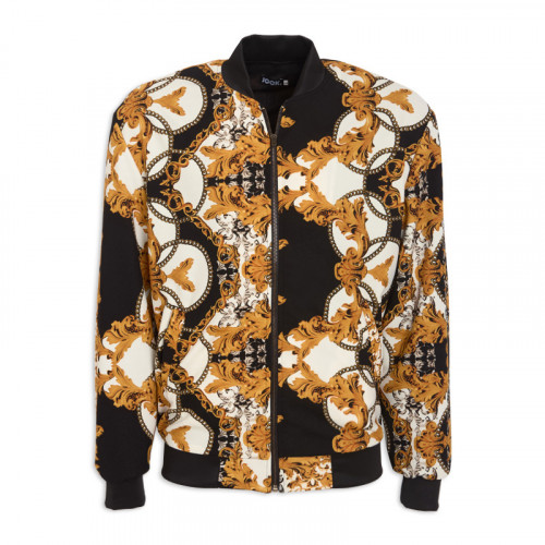 Black Print Bomber Jacket -