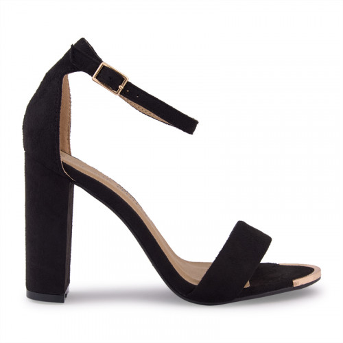 Black Suede With Gold Clip Sandal -