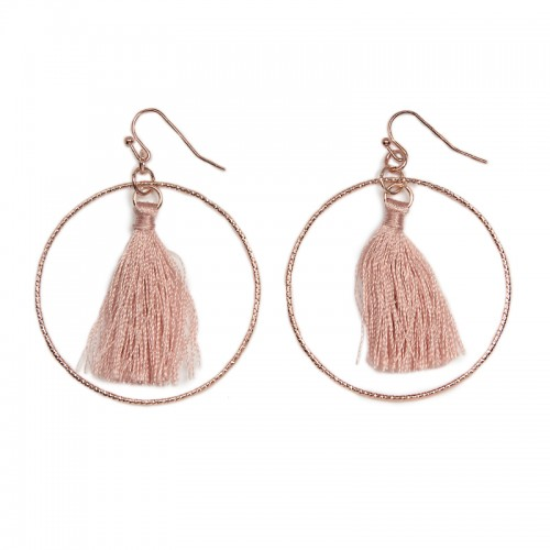 Pink Tassel Hoop Earrings -