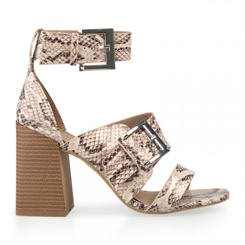 Natural Snake Double Buckle Sandal -