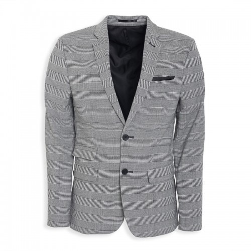 Grey Check Suit Jacket -