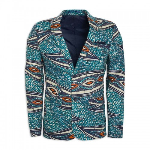 Blue African Print Suit Jacket -