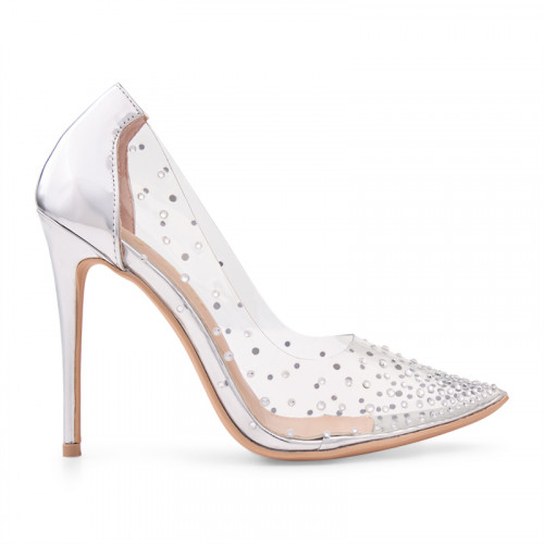 Silver Shiny Court Shoe -